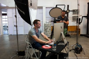 Photographer Daymon Gardner & assistant David Gillies prepare for the day's shoot.